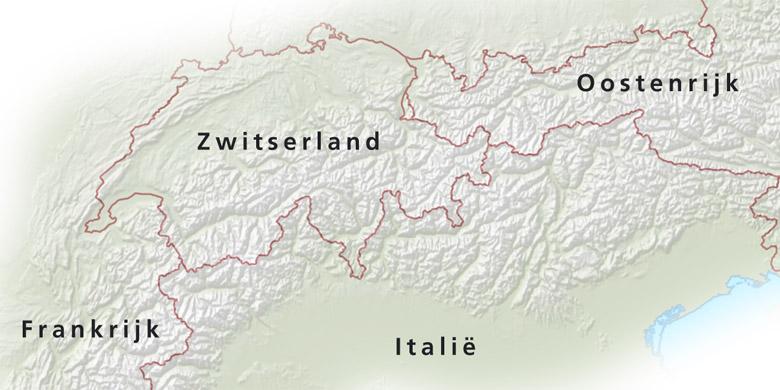 Van het alpengebied met een winters tintje de kaart is gebruikt als